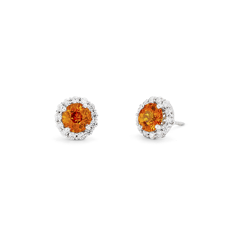 Orange Sapphire Earrings