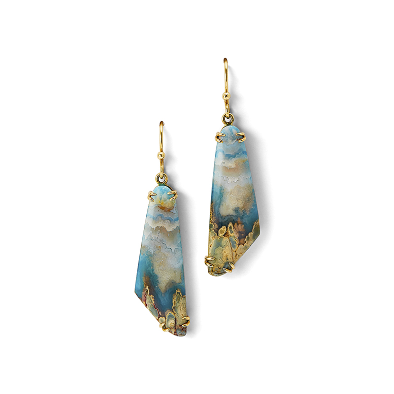 Plume Agate & Turquoise Earrings