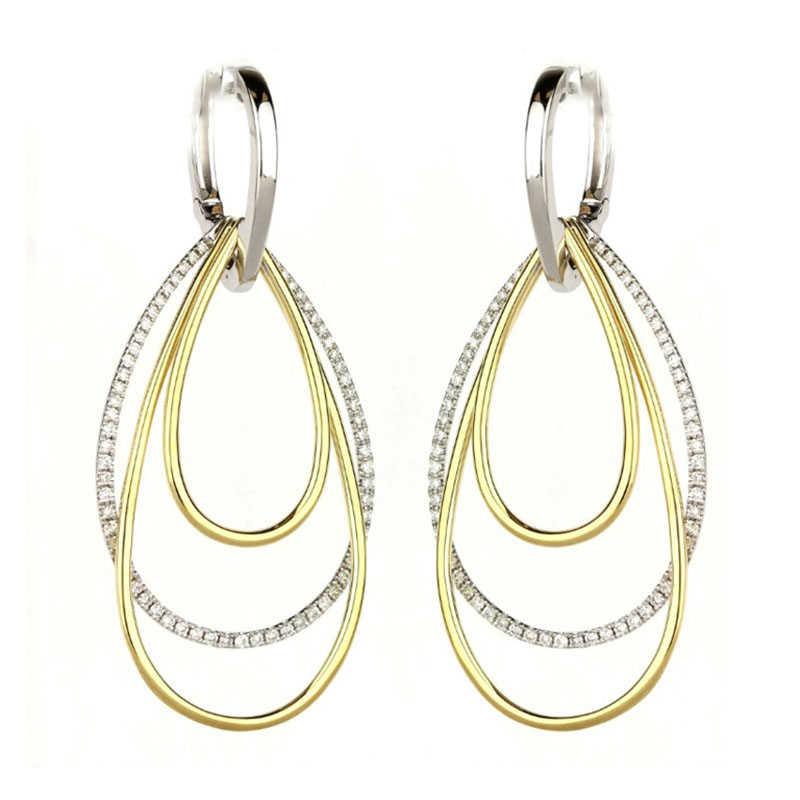 Tear Drop Diamond Dangle Earrings