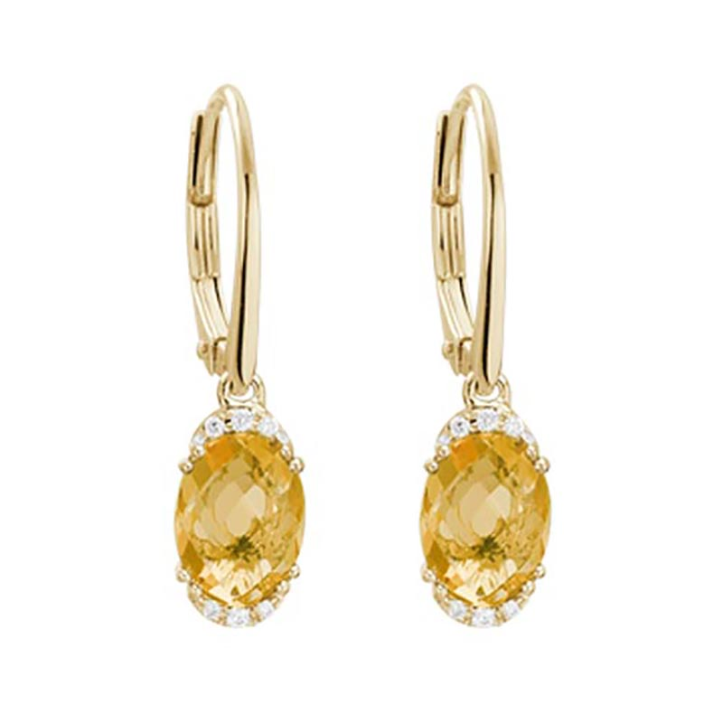 Citrine and Diamond Drop Earrings