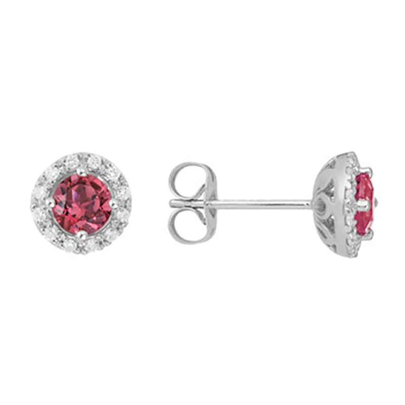 Pink Tourmaline Halo Stud Earrings