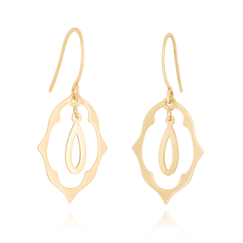 Oval Quatrefoil Dangle Earrings