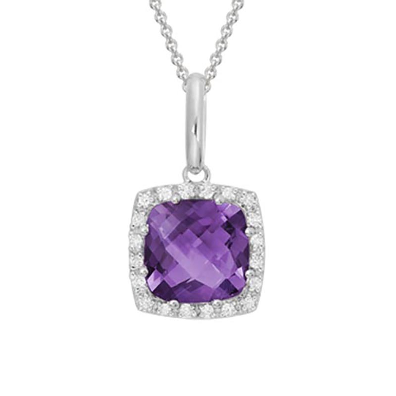 Cushion Cut Amethyst Halo Pendant
