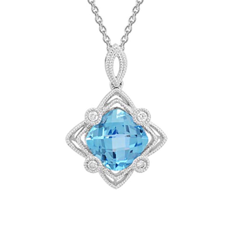Blue Topaz Filigree Pendant