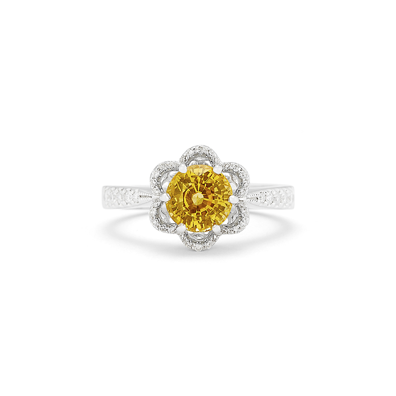 Yellow Sapphire Floral Ring