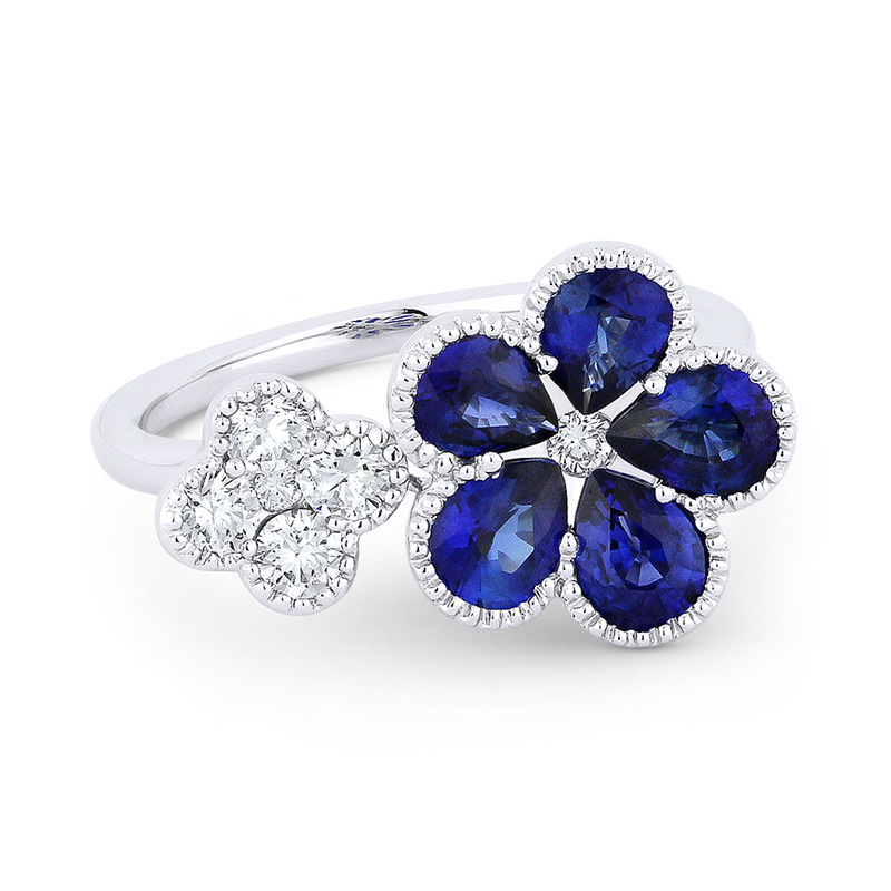 Sapphire Flower and Diamond Quatrefoil Ring