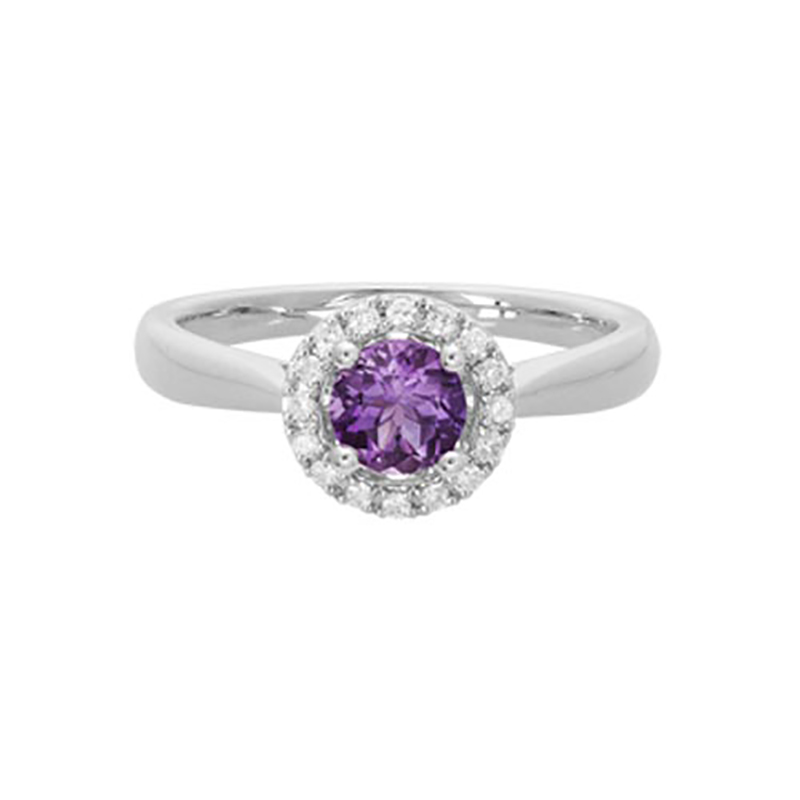 Amethyst Halo Ring