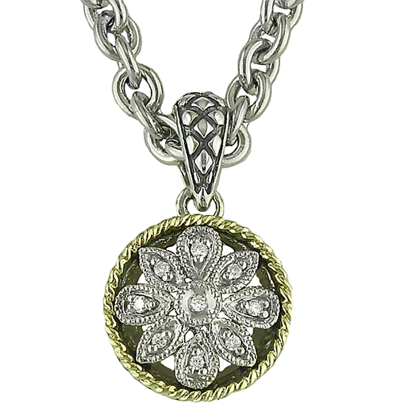 Sterling Floral Round Necklace