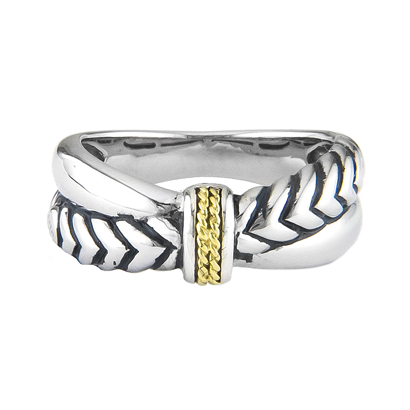 Sterling & 18K Chevron Ring