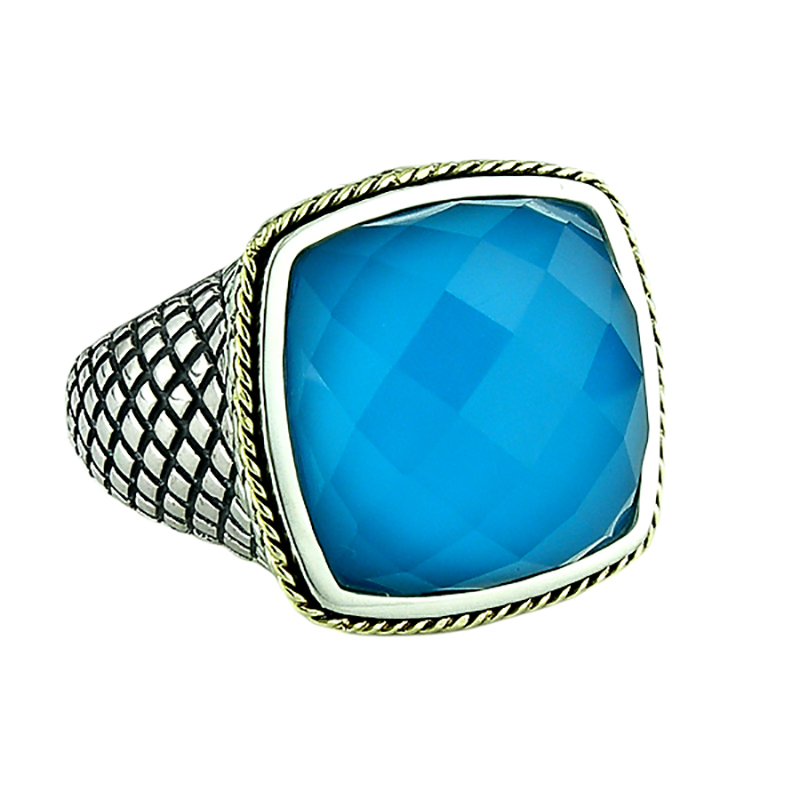 Sterling & 18K Turquoise Ring
