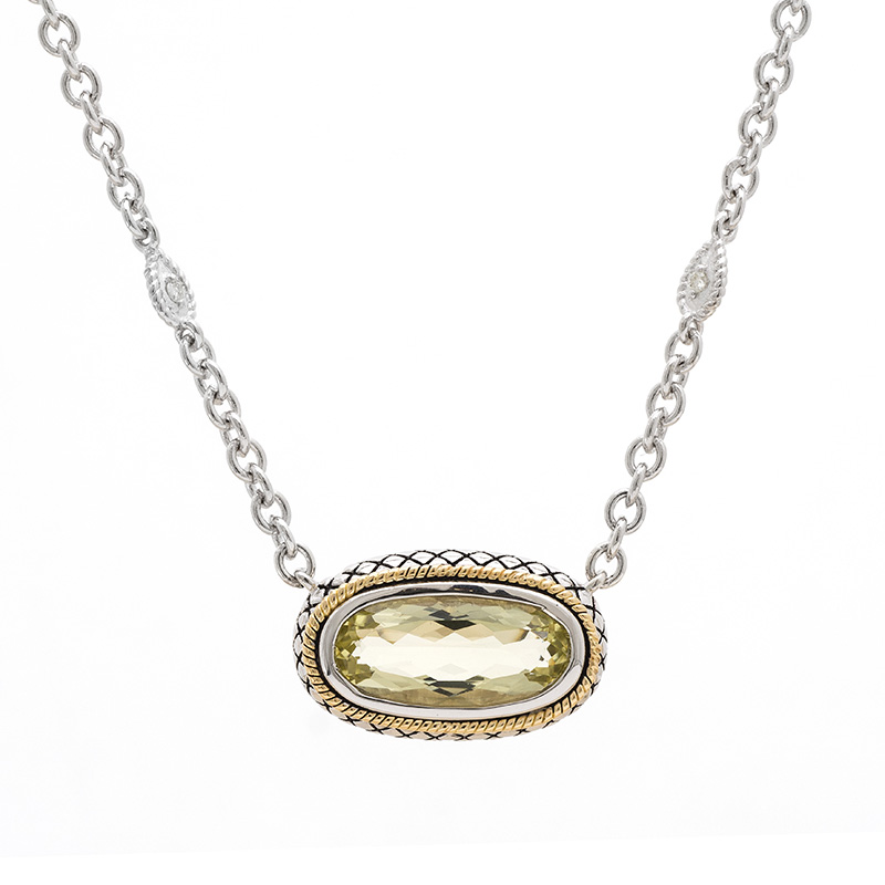 Sterling & 18K Lemon Quartz Necklace