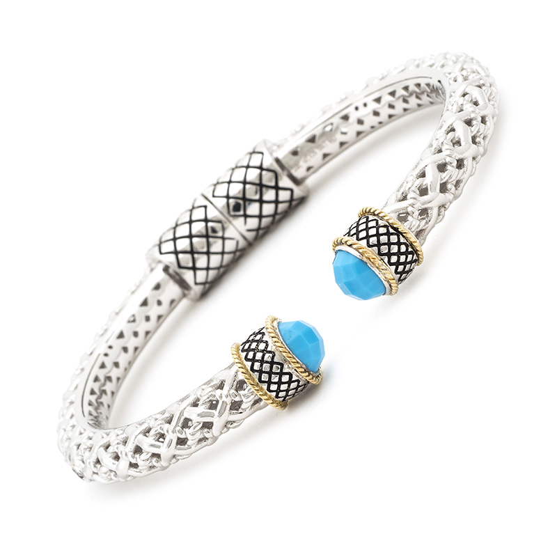 Sterling & 18K Turquoise Hinged Cuff