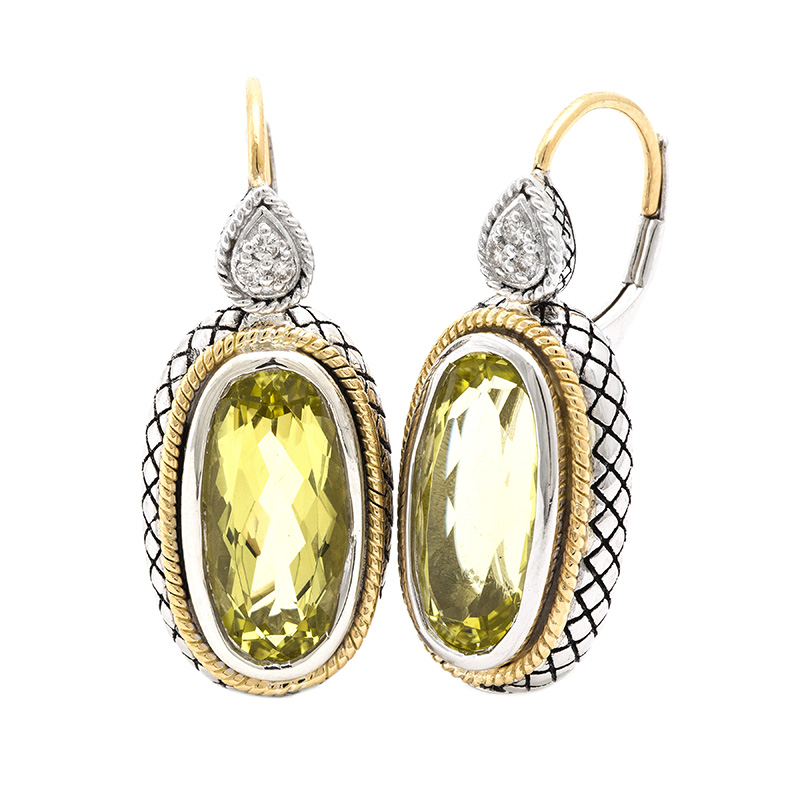 Sterling & 18K Lemon Quartz Earrings