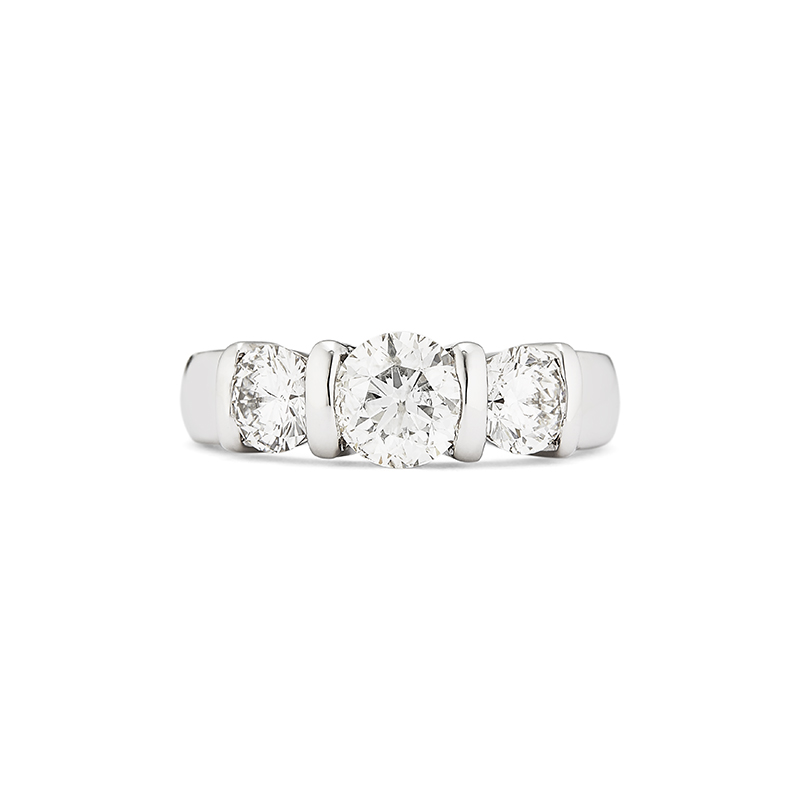 Three Stone Bar Set Diamond Engagement Ring