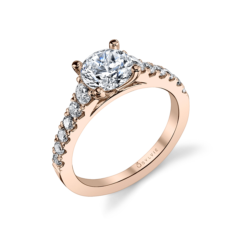 Graduated Cathedral Style Diamond Engagement Ring