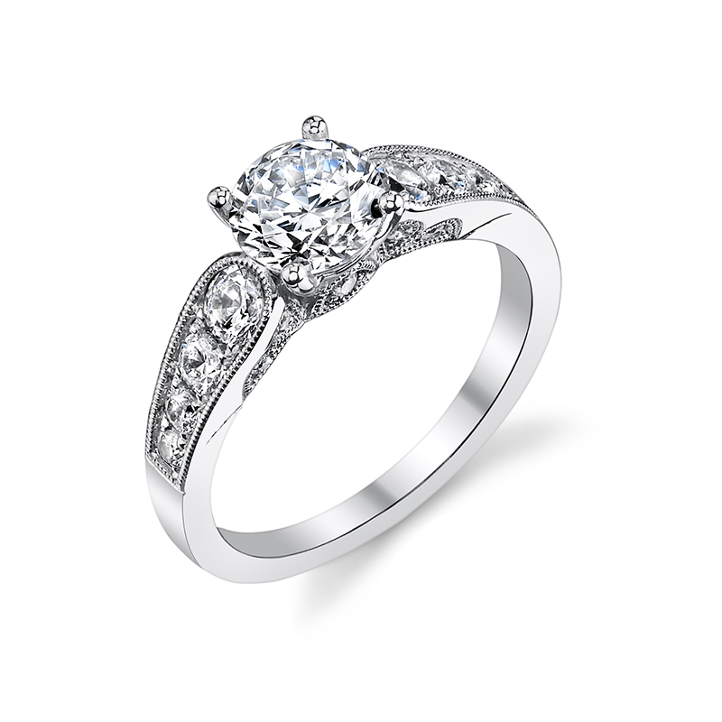 Milgrain Cathedral Diamond Engagement Ring