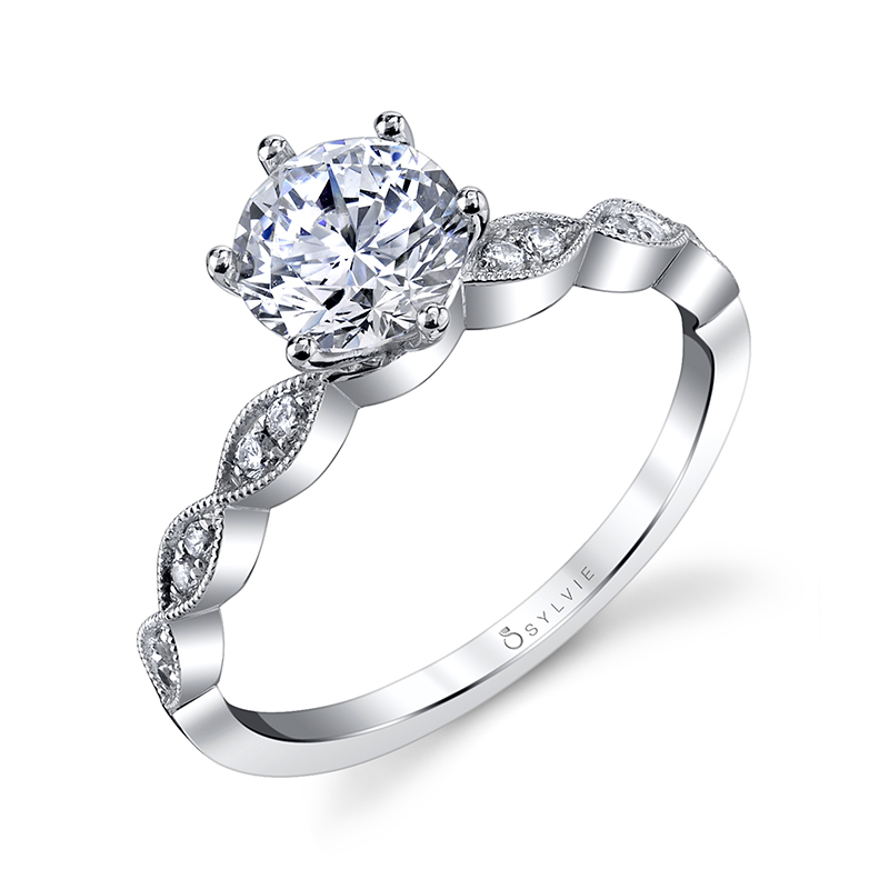 Diamond Engagement Ring with Marquise Shape Band