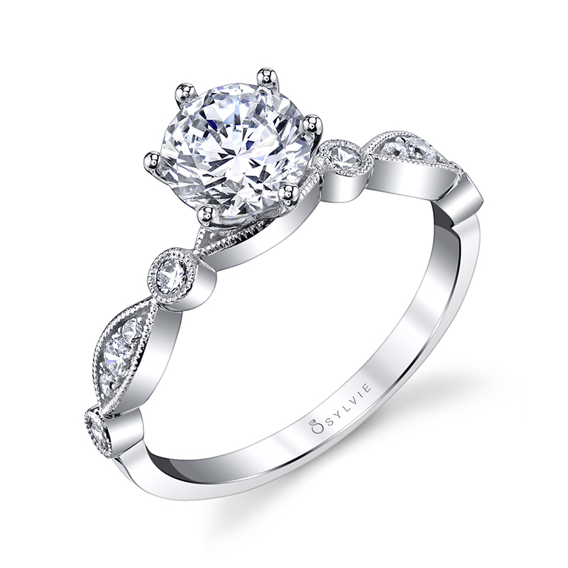 Diamond Engagement Ring with Marquise and Round Band