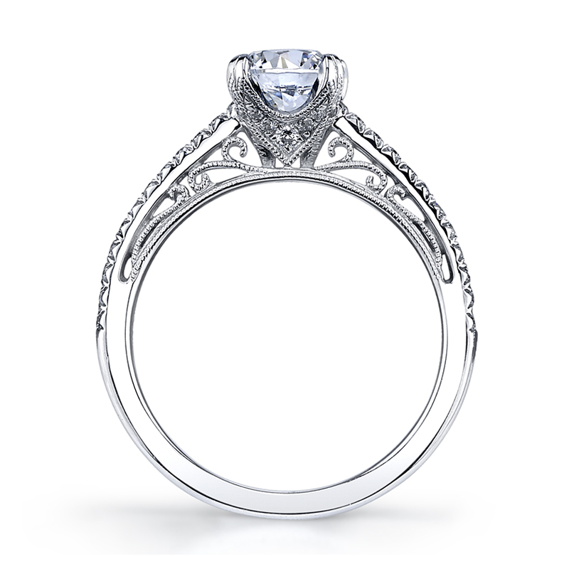 Scroll Profile Diamond Engagement Ring
