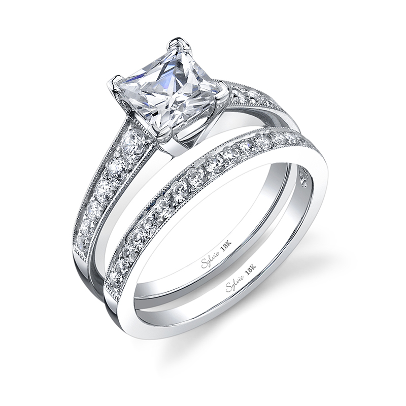 Princess Cut Milgrain Diamond Engagement Ring
