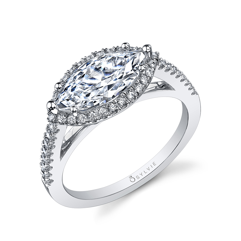 East-West Marquise Halo Diamond Engagement Ring