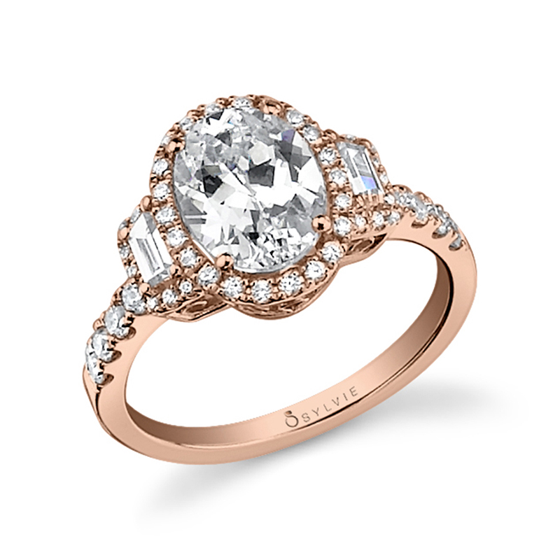 Rose Gold Oval Baguette Halo Diamond Engagement Ring