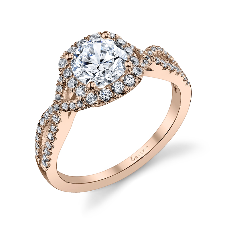Cushion Halo Twist Shank Diamond Engagement Ring