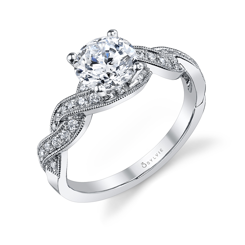 Crisscross Diamond Engagement Ring