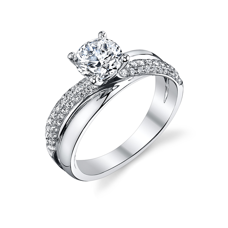 Modern Crisscross Diamond Engagement Ring