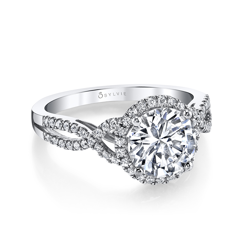 Round Halo Twist Diamond Engagement Ring