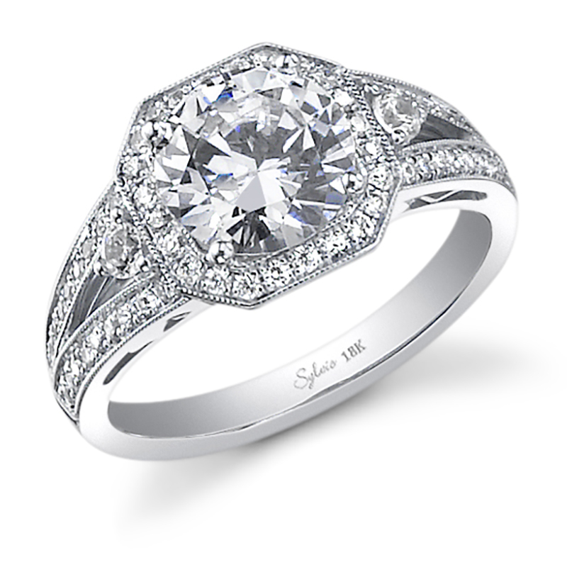 Octagonal Halo Diamond Engagement Ring