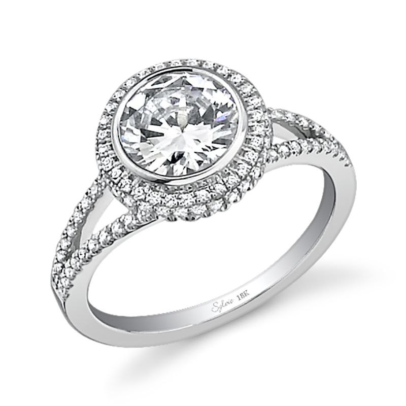 Round Halo Split Shank Diamond Engagement Ring