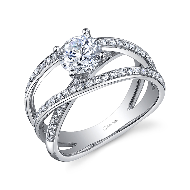 Wide Crisscross Diamond Engagement Ring