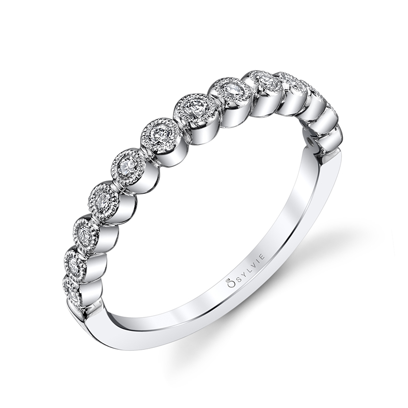 Stackable Milgrain Diamond Band
