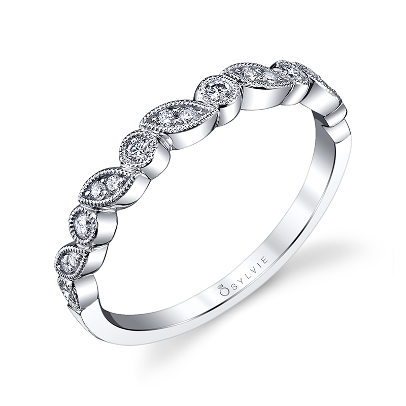 Oblique Marquise and Round Stackable Band