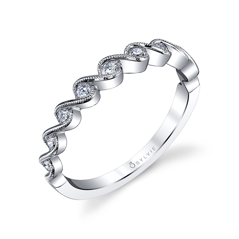 Milgrain Wave Stackable Band