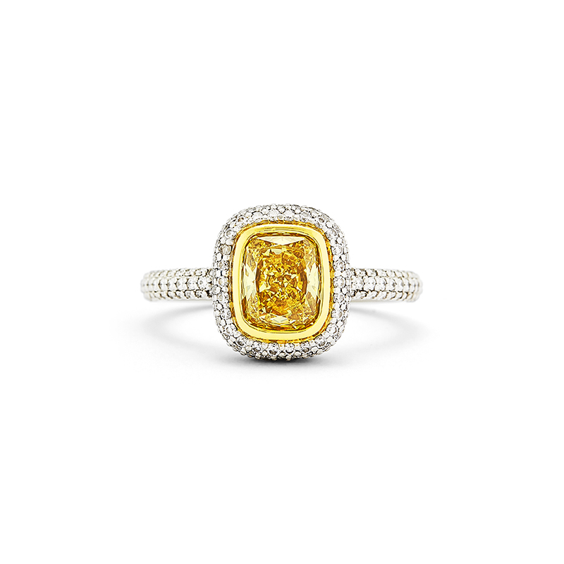 Fancy Yellow Cushion Cut & Pave Diamond Ring