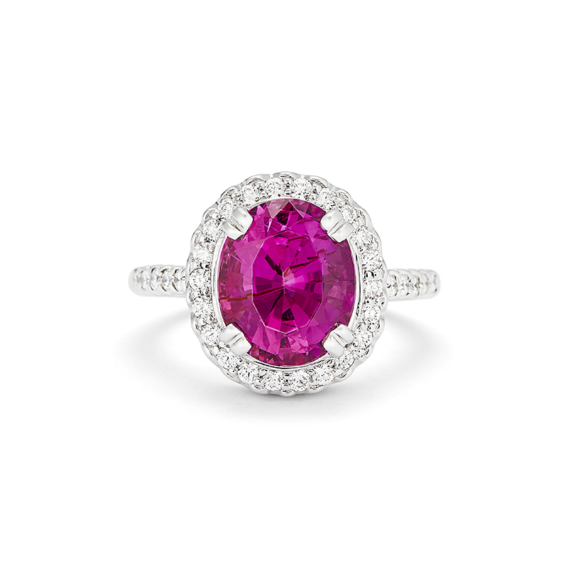 Oval Pink Tourmaline Ring