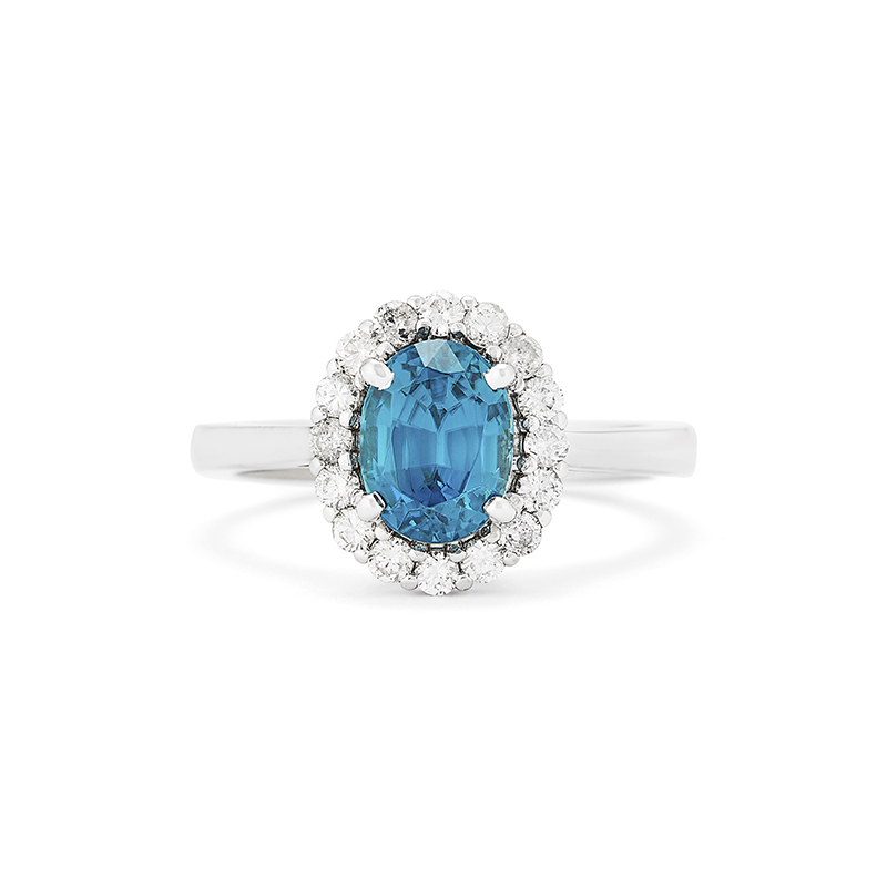 Oval Blue Zircon Ring