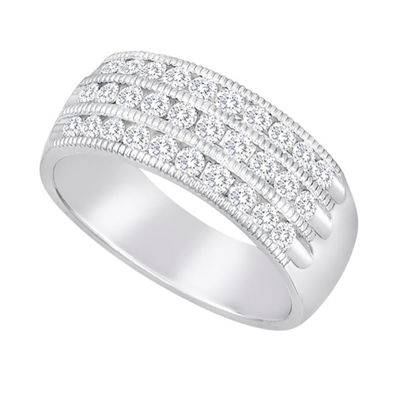 Triple Row Milgrain Diamond Ring