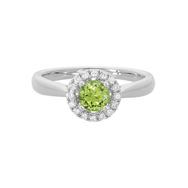 Peridot Halo Ring